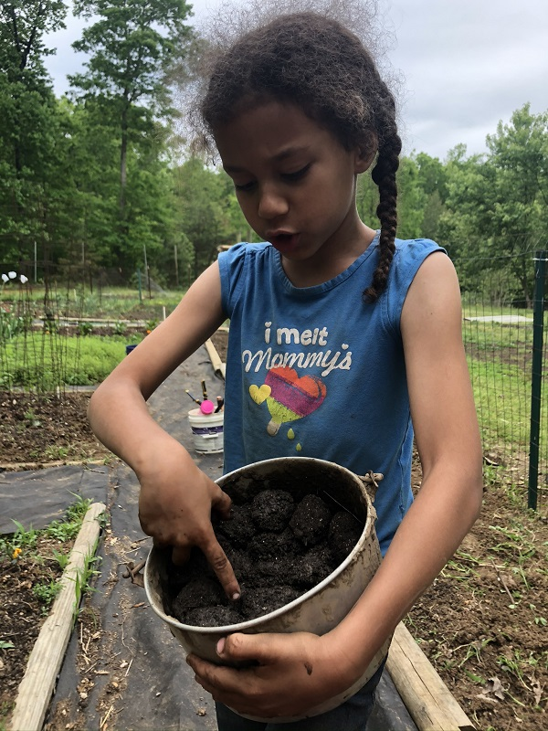 Garden soil in a pot